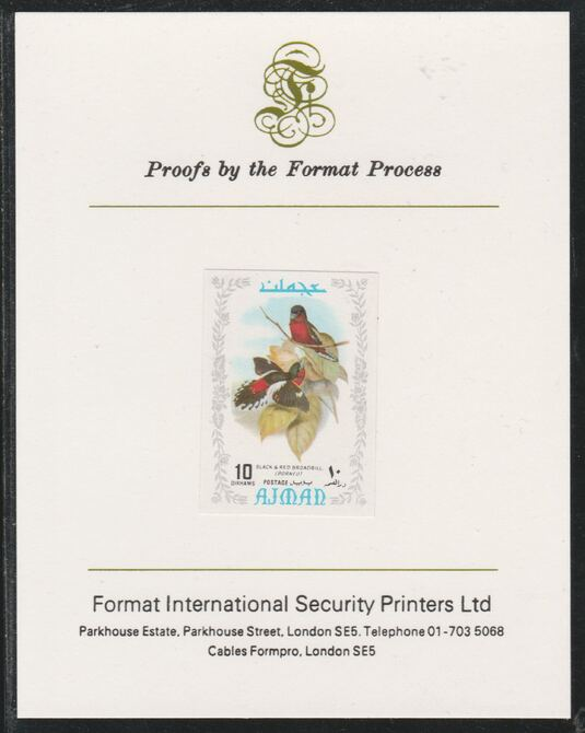 Ajman 1971 Exotic Birds - Black & Red Broadbill 10Dh imperf mounted on Format International proof card as Mi 884B