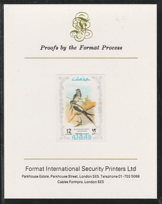 Ajman 1971 Exotic Birds - Moustached Treeswift 12Dh imperf mounted on Format International proof card as Mi 885B