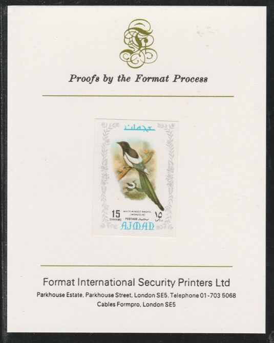 Ajman 1971 Exotic Birds - Eurasian Magpie 15Dh imperf mounted on Format International proof card as Mi 886B