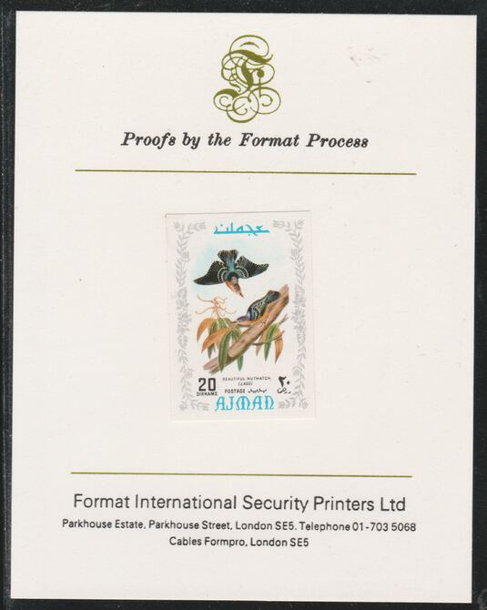 Ajman 1971 Exotic Birds - Beautiful Nuthatch 20Dh imperf mounted on Format International proof card as Mi 887B