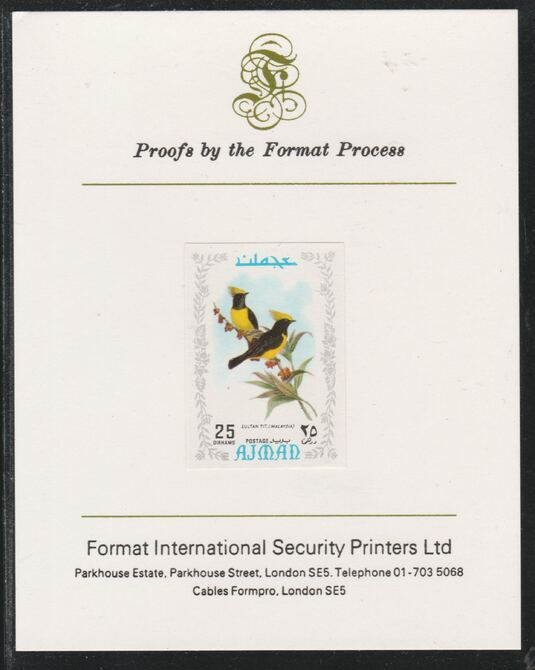 Ajman 1971 Exotic Birds - Sultan Tit 25Dh imperf mounted on Format International proof card as Mi 888B