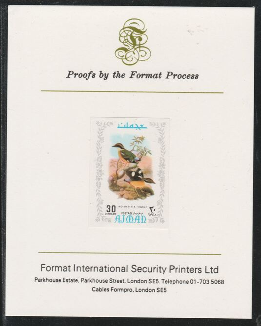 Ajman 1971 Exotic Birds - Indian Pitta 30Dh imperf mounted on Format International proof card as Mi 889B