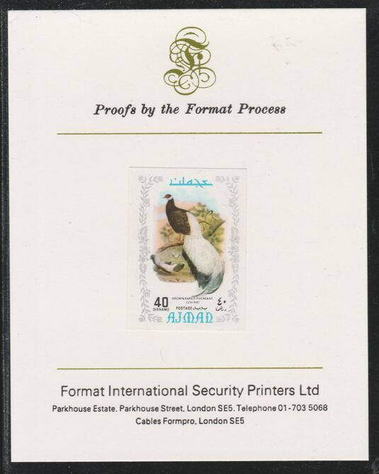 Ajman 1971 Exotic Birds - Brown-Eared Pheasant 40Dh imperf mounted on Format International proof card as Mi 890B