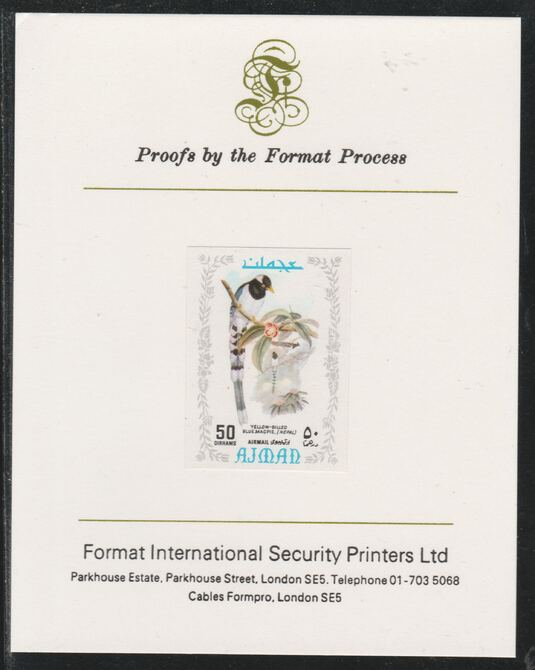 Ajman 1971 Exotic Birds - Gold-Billed Magpie 50Dh imperf mounted on Format International proof card as Mi 891B