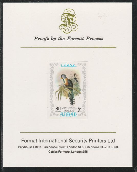 Ajman 1971 Exotic Birds - Scale-Feathered Makoha 80Dh imperf mounted on Format International proof card as Mi 892B