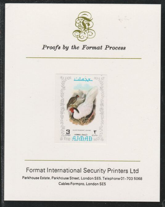 Ajman 1971 Exotic Birds - Silver Pheasant 3R imperf mounted on Format International proof card as Mi 894B