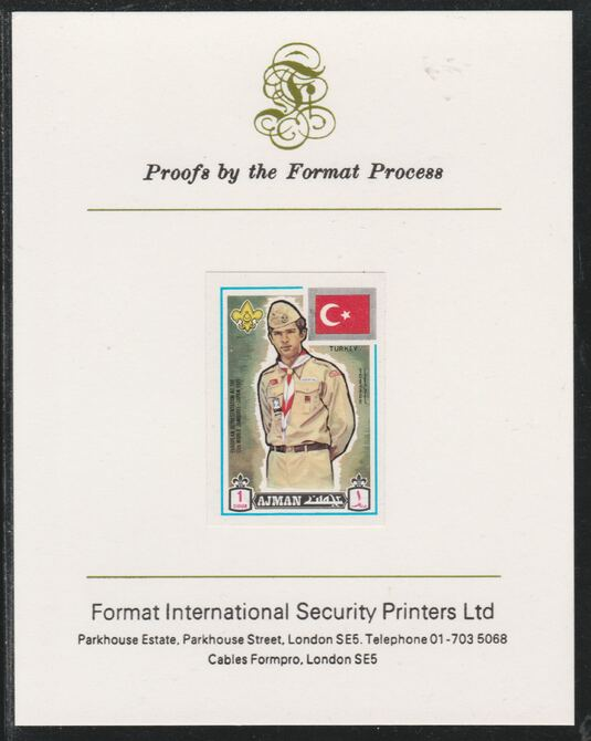 Ajman 1971 World Scouts - Turkey 1Dh imperf mounted on Format International proof card as Mi 904B