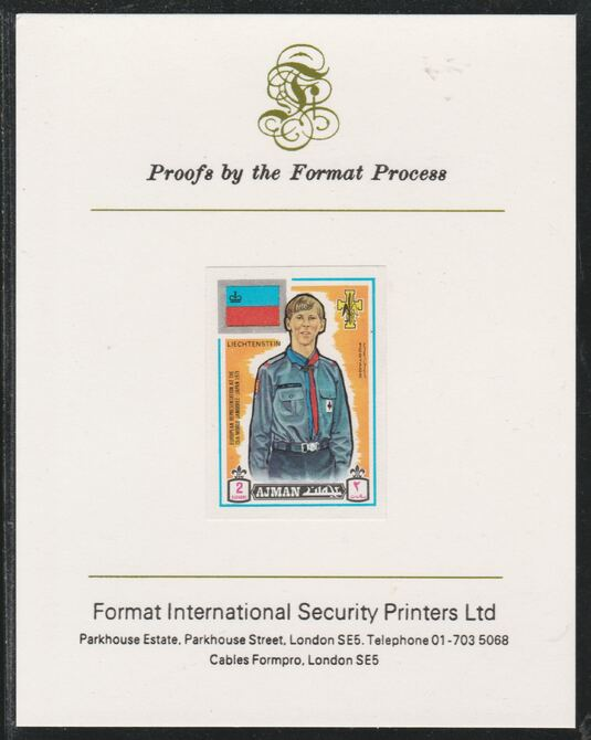 Ajman 1971 World Scouts - Liechtenstein 2Dh imperf mounted on Format International proof card as Mi 905B