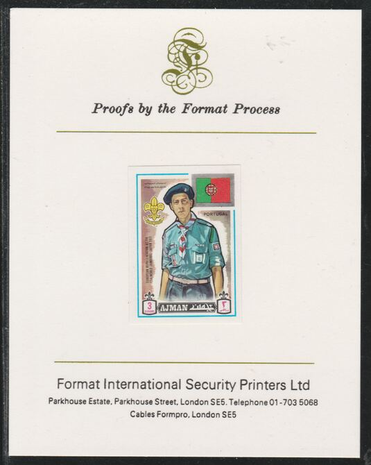 Ajman 1971 World Scouts - Portugal 3Dh imperf mounted on Format International proof card as Mi 906B