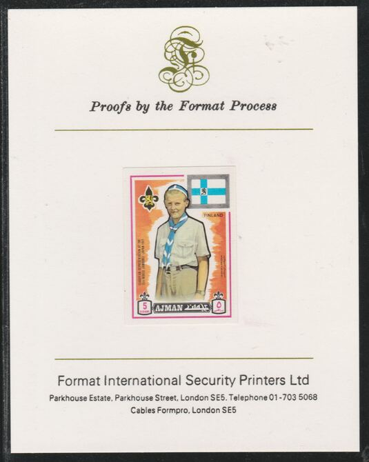 Ajman 1971 World Scouts - Finland 5Dh imperf mounted on Format International proof card as Mi 907B