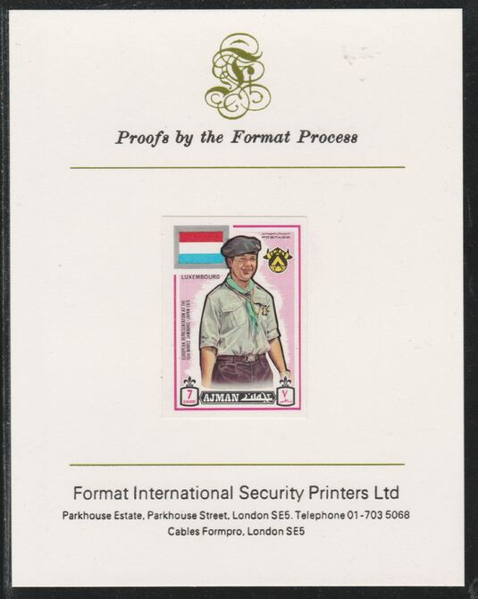 Ajman 1971 World Scouts - Luxemburg 7Dh imperf mounted on Format International proof card as Mi 908B