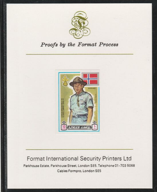 Ajman 1971 World Scouts - Norway 10Dh imperf mounted on Format International proof card as Mi 909B