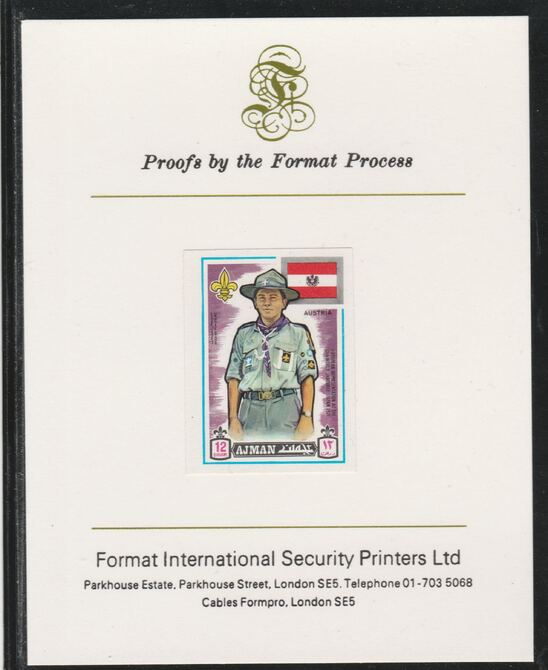Ajman 1971 World Scouts - Austria 12Dh imperf mounted on Format International proof card as Mi 910B