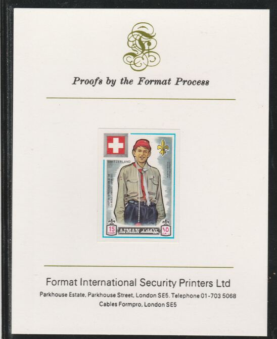 Ajman 1971 World Scouts - Switzerland 15Dh imperf mounted on Format International proof card as Mi 911B