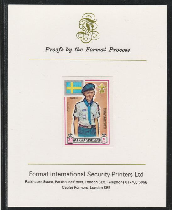 Ajman 1971 World Scouts - Sweden 20Dh imperf mounted on Format International proof card as Mi 912B
