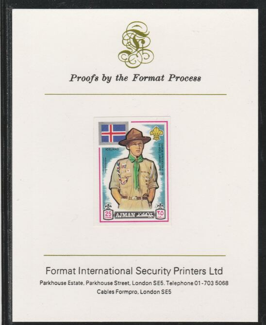Ajman 1971 World Scouts - Iceland 25Dh imperf mounted on Format International proof card as Mi 913B