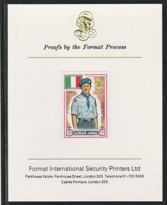 Ajman 1971 World Scouts - Italy 35Dh imperf mounted on Format International proof card as Mi 915B