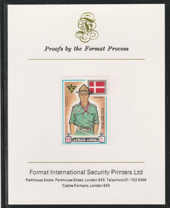 Ajman 1971 World Scouts - Denmark 40Dh imperf mounted on Format International proof card as Mi 916B
