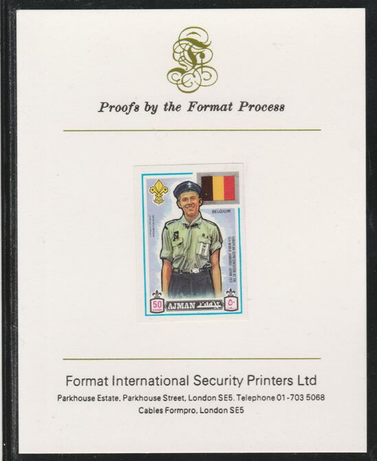 Ajman 1971 World Scouts - Belgium 50Dh imperf mounted on Format International proof card as Mi 917B