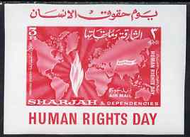 Sharjah 1964 Human Rights Day imperf m/sheet unmounted mint, Mi BL6