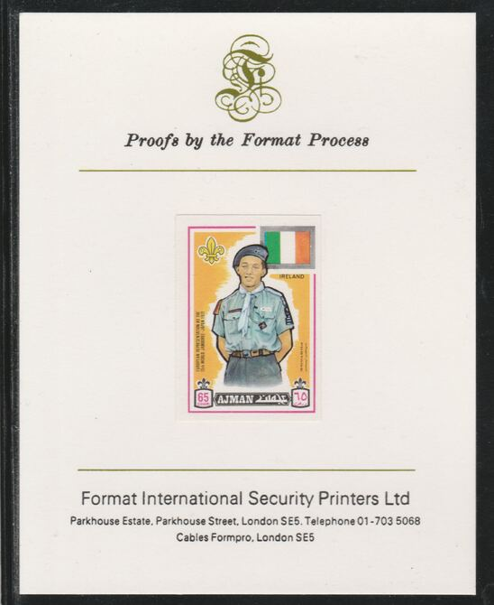 Ajman 1971 World Scouts - Ireland 65Dh imperf mounted on Format International proof card as Mi 918B