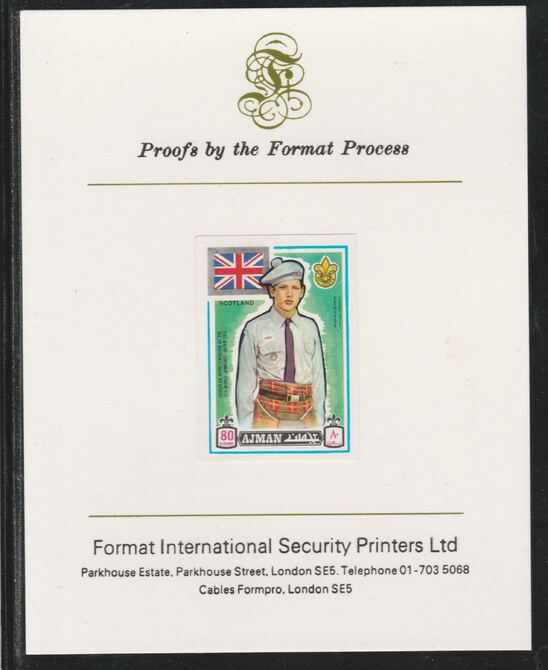 Ajman 1971 World Scouts - Scotland 80Dh imperf mounted on Format International proof card as Mi 919B