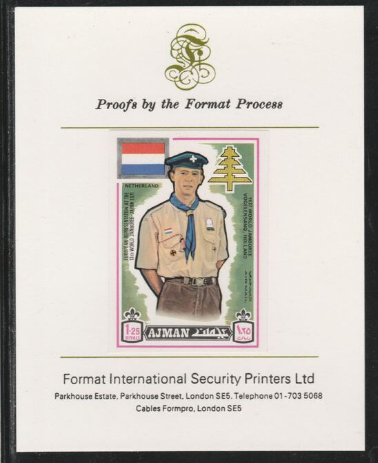 Ajman 1971 World Scouts - Netherland 1.25R imperf mounted on Format International proof card as Mi 921B