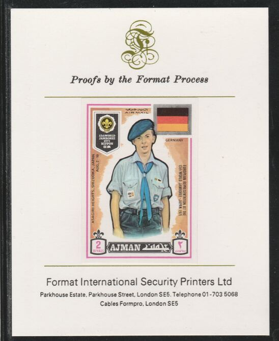 Ajman 1971 World Scouts - Germany 2R imperf mounted on Format International proof card as Mi 923B