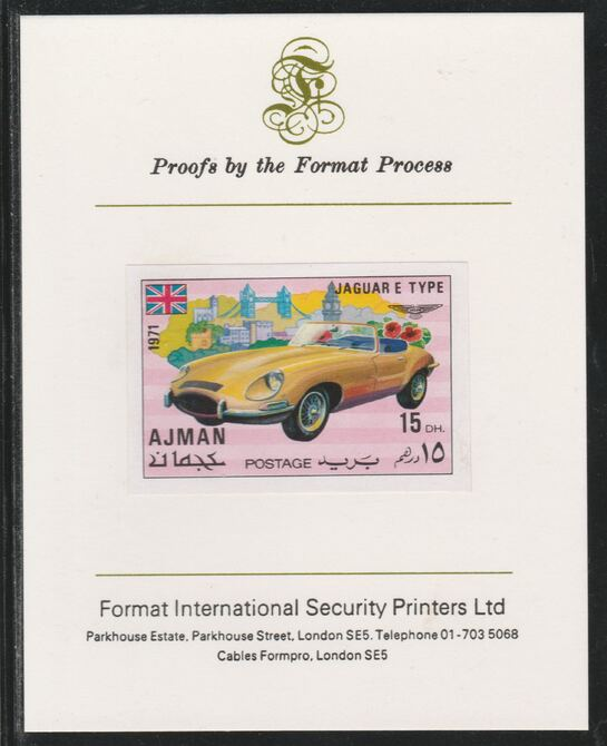 Ajman 1971 Modern Cars - Jaguar E Type 15Dh imperf mounted on Format International proof card as Mi 1170B