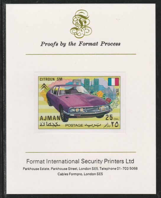Ajman 1971 Modern Cars - Citroen 25Dh imperf mounted on Format International proof card as Mi 1171B