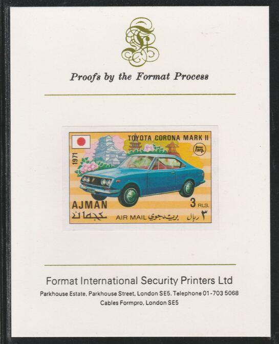 Ajman 1971 Modern Cars - Toyota 3R imperf mounted on Format International proof card as Mi 1174B