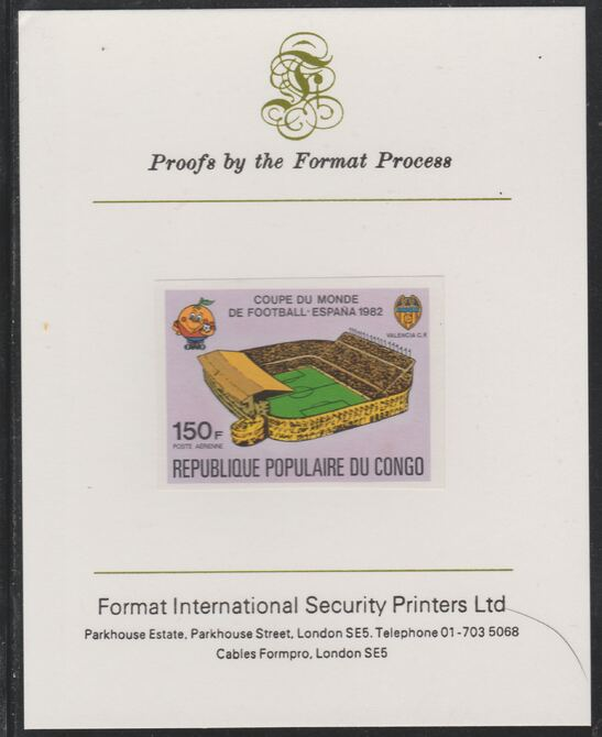 Congo 1980 World Cup Football  150f (Valencia CF Stadium) imperf proof mounted on Format International proof card as SG 729
