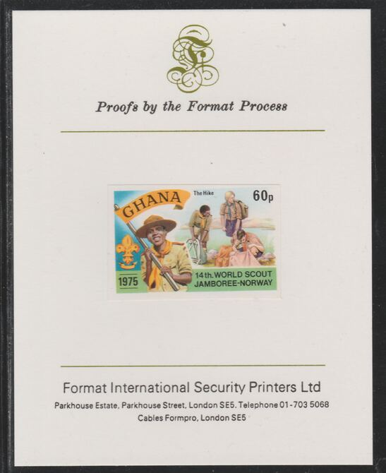 Ghana 1976 World Scout Jamboree 60p Hiking imperf mounted on Format International proof card as SG 757
