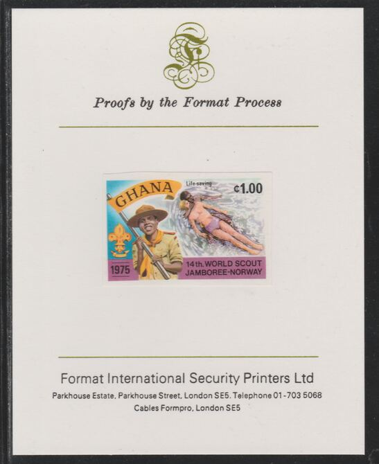 Ghana 1976 World Scout Jamboree 1c Life Saving imperf mounted on Format International proof card as SG 758
