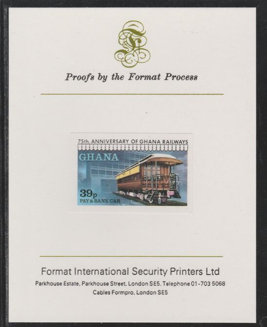 Ghana 1978 Railway Anniversary 39p Pay & Bank Car imperf mounted on Format International proof card as SG 869