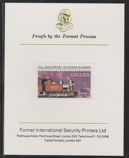 Ghana 1978 Railway Anniversary 60p Steam Locomotive imperf mounted on Format International proof card as SG 870