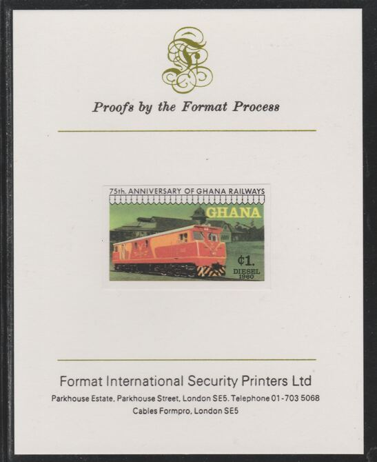 Ghana 1978 Railway Anniversary 1c Diesel-Electric Locomotive imperf mounted on Format International proof card as SG 871, stamps on railways