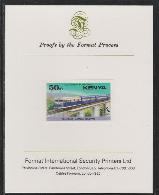 Kenya 1976 Railway Transport 50c Diesel Train imperf mounted on Format International proof card as SG 66