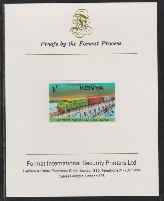 Kenya 1976 Railway Transport 1s Nile Bridge imperf mounted on Format International proof card as SG 67