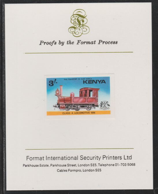 Kenya 1976 Railway Transport 3s Class A Steam Loco imperf mounted on Format International proof card as SG 68