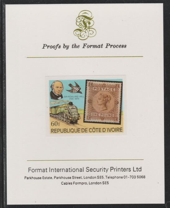 Ivory Coast 1979 Death Centenary of Rowland Hill (Stamps & Trains) 60f imperf mounted on Format International proof card as SG 594