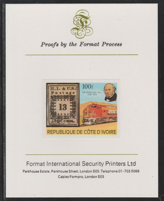 Ivory Coast 1979 Death Centenary of Rowland Hill (Stamps & Trains) 100f imperf mounted on Format International proof card as SG 596