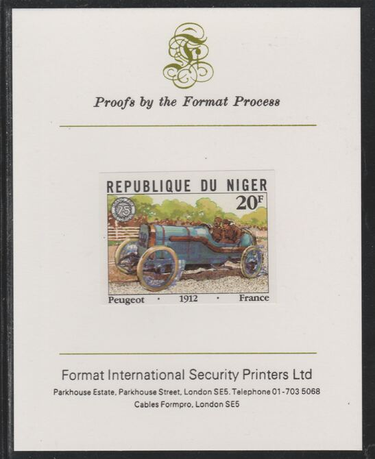 Niger Republic 1981 French Grand Prix 20f Peugeot imperf mounted on Format International proof card as SG 874