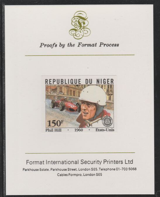 Niger Republic 1981 French Grand Prix 150f Phil Hill imperf mounted on Format International proof card as SG 878
