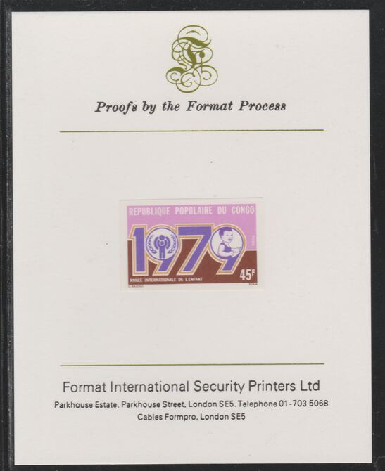 Congo 1979 Year of the Child 45f imperf mounted on Format International proof card as SG 666