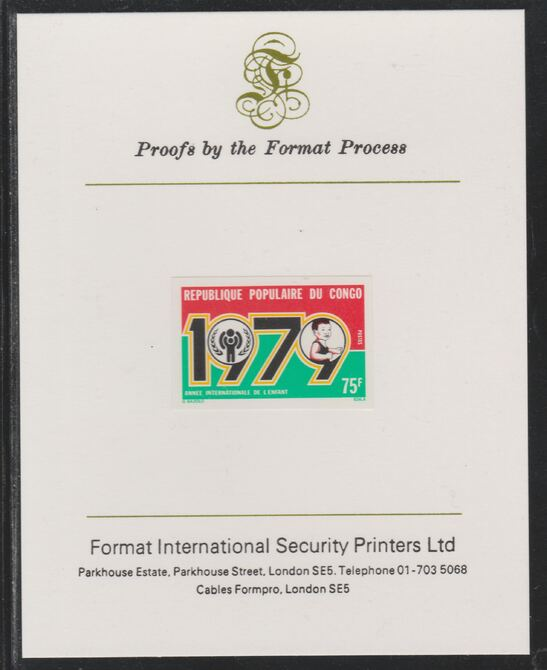 Congo 1979 Year of the Child 75f imperf mounted on Format International proof card as SG 667