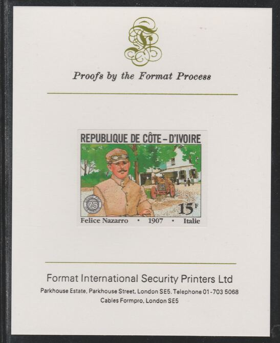 Ivory Coast 1981 French Grand Prix 15f Felice Nazzaro imperf mounted on Format International proof card as SG 699