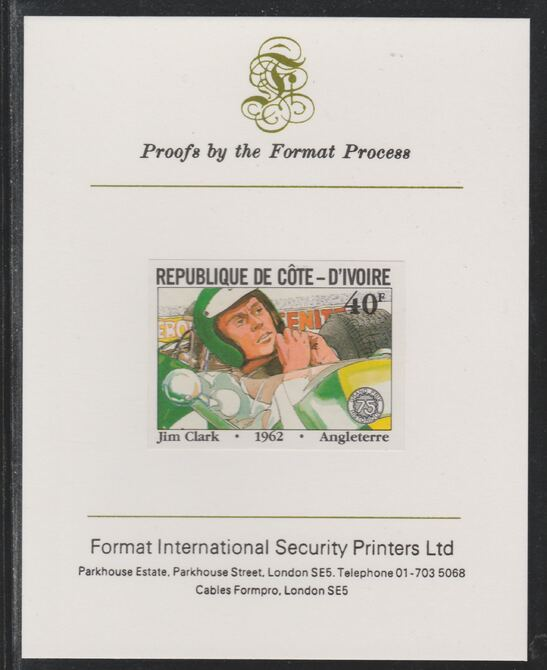 Ivory Coast 1981 French Grand Prix 40f Jim Clark imperf mounted on Format International proof card as SG 700