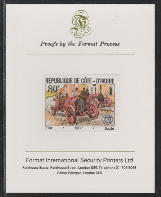 Ivory Coast 1981 French Grand Prix 80f Fiat imperf mounted on Format International proof card as SG 701