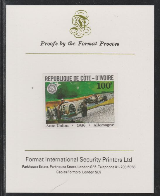 Ivory Coast 1981 French Grand Prix 100f Auto Union imperf mounted on Format International proof card as SG 702